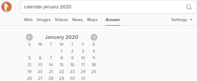 Calendar in DuckDuckGo