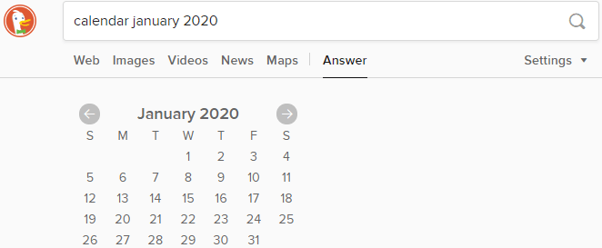 Calendar in DuckDuckGo