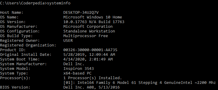 cmd - systeminfo command