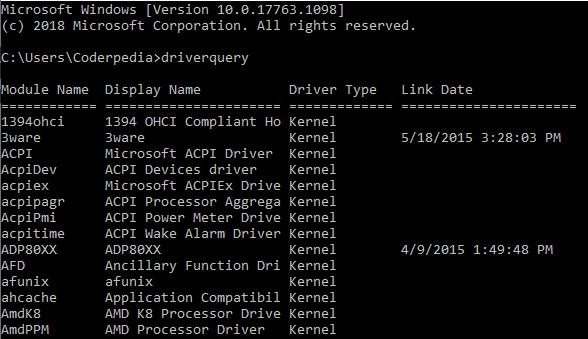 command prompt - driverquery command