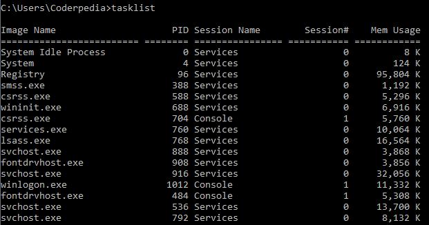 command prompt - tasklist command