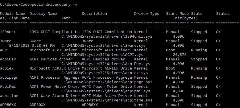 driver query - v command