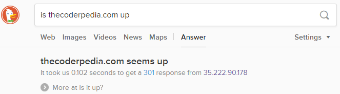 is website up DuckDuckGo vs Google