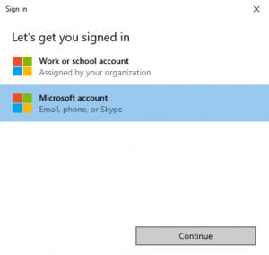 Choose your Microsoft Account