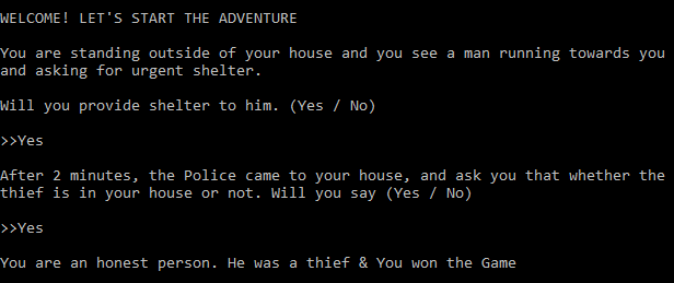 Text-Based Adventure Game in Python Output